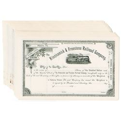 Kinniconick & Freestone Railroad Co., ca.1890-1900 Group of Unissued Stock Certificate