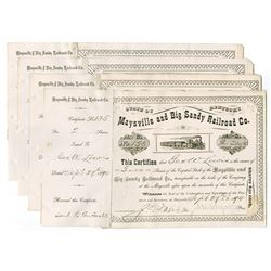 Maysville and Big Sandy Railroad Co., 1890-1894 Group of Cancelled Stock Certificates