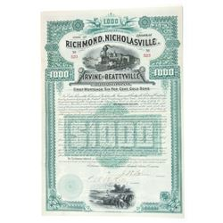 Richmond, Nicholasville, Irvine and Beattyville Railroad Co., 1889 Issued Bond