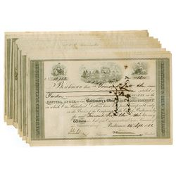 Baltimore & Ohio Rail Road Co., 1851 Group of Cut Cancelled Stock Certificates