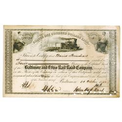 Baltimore & Ohio Rail Road Co., 1856 Cancelled Stock Certificate