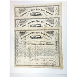 Baltimore & Ohio Rail Road Co., 1874-1875 Group of Cancelled Stock Certificates