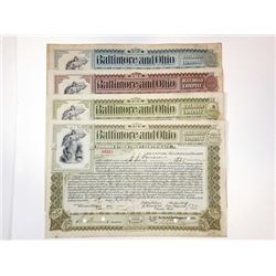 Baltimore & Ohio Rail Road Co., 1899-1900 Group of Cancelled Stock Certificates