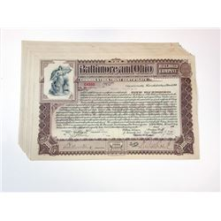 Baltimore & Ohio Rail Road Co., 1900 Group of Cancelled Stock Certificates