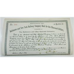 Baltimore and New York Railway Co., 1889 Cancelled Bond