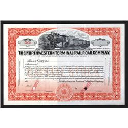 Northwestern Terminal Railroad Co., ND (ca.1927), Specimen Railroad Stock Certificate.