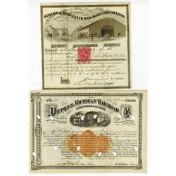 Boston & Worcester Rail-Road Corp., and Dayton & Michigan Railroad Co.,  1867-1873 Cancelled Bond Pa