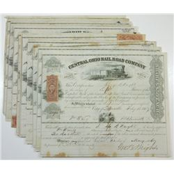 Central Ohio Rail Road Co., ca.1866-1870 Group of Cancelled Stock Certificates