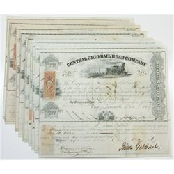 Central Ohio Rail Road Co., ca.1866-1871 Group of Cancelled Stock Certificates