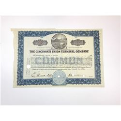 Cincinnati Union Terminal Co., 1931 Cancelled Stock Certificate