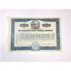 Cincinnati Union Terminal Co., 1942 Cancelled Stock Certificate