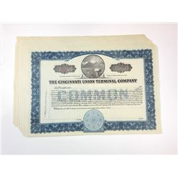 Cincinnati Union Terminal Co., ca.1930-1940 lot of 8 of Unissued Stock Certificates