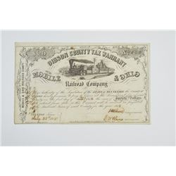 Gibson County Tax Warrant for the Mobile & Ohio Railroad Co., 1856.