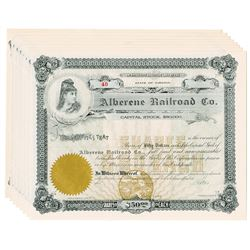 Alberene Railroad Co., 1890-1900 Group of Unissued Stock Certificates