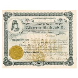 Alberene Railroad Co., 1897 Cancelled Stock Certificate