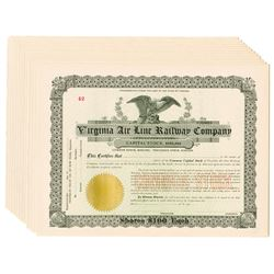 Virginia Air Line Railway Co., ca.1900-1910 Group of Unissued Stock Certificates