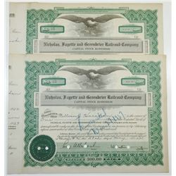 Nicholas, Fayette and Greenbrier Railroad Co., 1932 Pair of Cancelled Stock Certificates