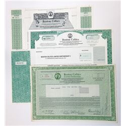 Boston Celtics LTD II, Stock and Bond Certificate Quartet, ca.1987 to 1999.