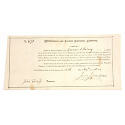 Wilmington and Kennett Turnpike Co., 1811 Stock Certificate.