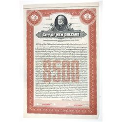 City of New Orleans, 1928 Specimen Coupon Bond Used by the Production department with Minor Elements
