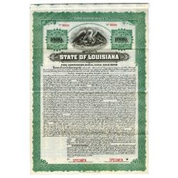 State of Louisiana, 1920 Specimen Bond