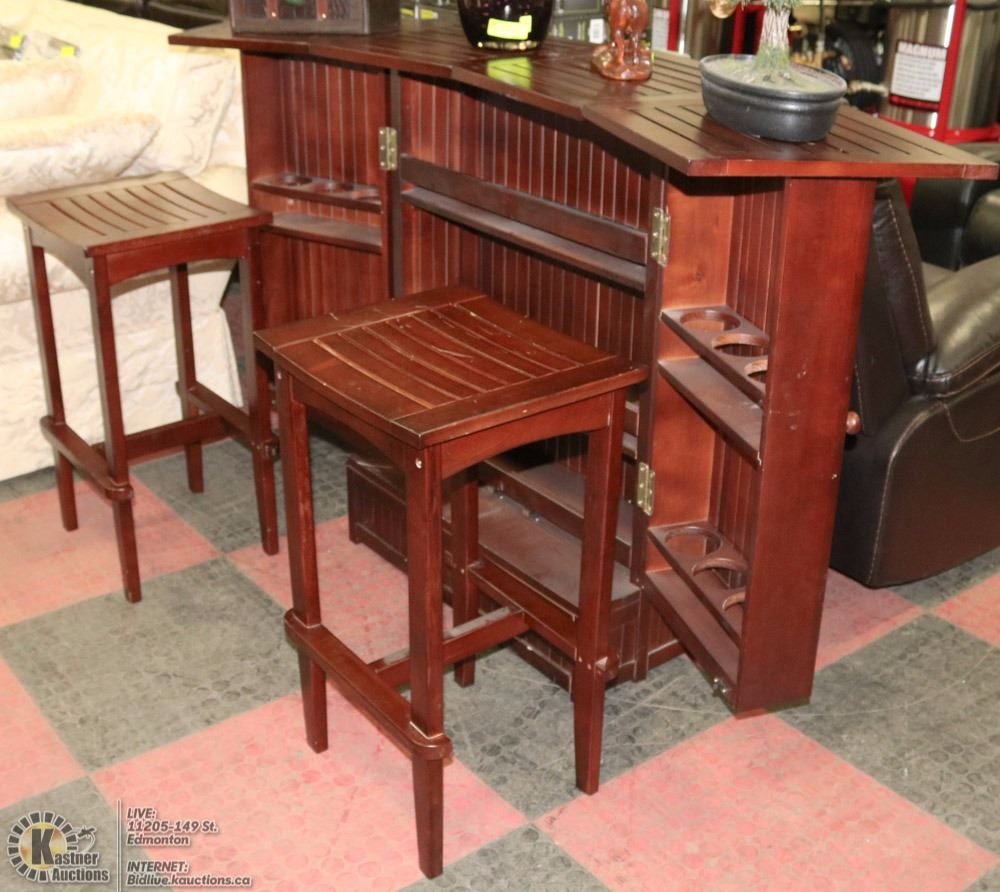 Wood Bar Fold Out With 2 Bar Stools Scratches Kastner