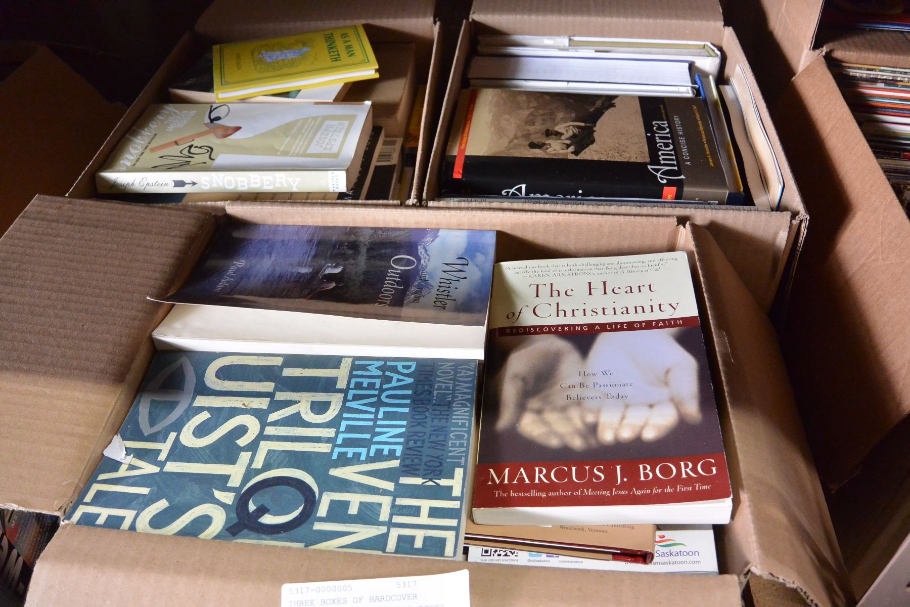 THREE BOXES OF HARDCOVER NOVELS AND COFFEE TABLE BOOKS