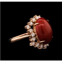 6.67 ctw Coral and Diamond Ring - 14KT Rose Gold