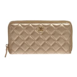 Chanel Gold Lambskin Leather Quilted Long Zippy Wallet