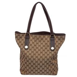 Gucci Brown Canvas Monogram Brown Leather Trim Tote Bag