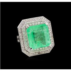 GIA Cert 19.14 ctw Emerald and Diamond Ring - 14KT White Gold