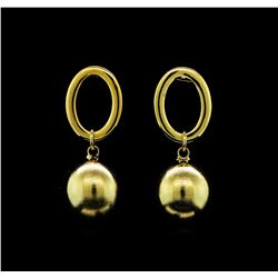 14mm Satin Bead and Glossy Post Earrings - Gold Plated