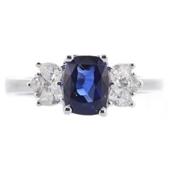 1.64 ctw Sapphire and Diamond Ring - 18KT White Gold