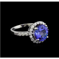 4.34 ctw Tanzanite and Diamond Ring - 14KT White Gold
