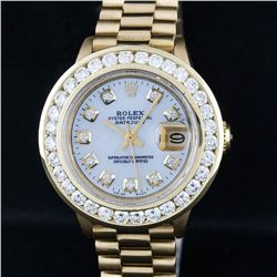 Rolex Ladies 18K Yellow Gold President Mother Of Pearl 2.15 ctw Diamond Wristwat