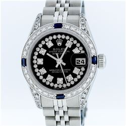 Rolex Stainless Steel Black String Diamond VVS DateJust Ladies Watch