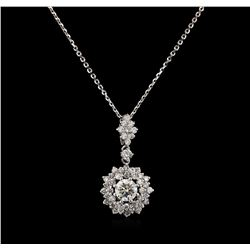 1.10 ctw Diamond Pendant - 14KT White Gold