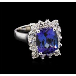 4.65 ctw Tanzanite and Diamond Ring - 14KT White Gold