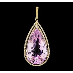 88.13 ctw Kunzite and Diamond Pendant - 14KT Yellow Gold