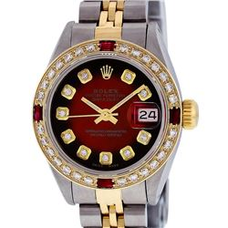 Rolex Ladies 2T Red Vignette Diamond And Ruby Datejust Wristwatch