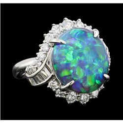 6.10 ctw Black Opal and Diamond Ring - Platinum