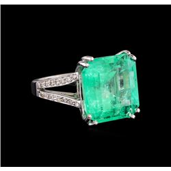 18.15 ctw Emerald and Diamond Ring - 14KT White Gold