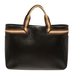 Gucci Black Brown Leather Double Handle Tote Bag