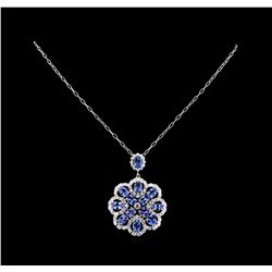 17.65 ctw Tanzanite and Diamond Pendant With Chain - 14KT White Gold