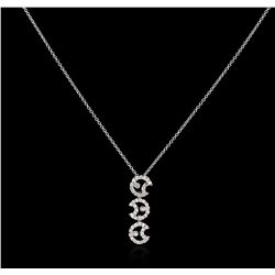 18KT White Gold 0.30 ctw Diamond Pendant With Chain
