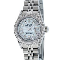 Rolex Stainless Steel Mother Of Pearl String Diamond VS Datejust Ladies Watch
