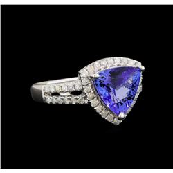 14KT White Gold 2.21 ctw Tanzanite and Diamond Ring