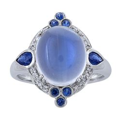 7.08 ctw Moon Stone, Blue Sapphire, and Diamond Ring - 14KT White Gold