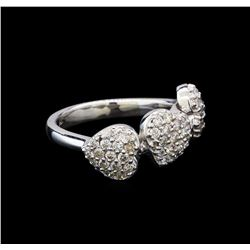 0.89 ctw Pave Round Diamond Heart Ring - 14KT White Gold