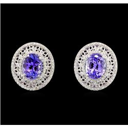 14KT White Gold 5.42 ctw Tanzanite and Diamond Earrings